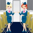 Beautiful Stewardess - Stock Vector