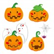 Stock Vector: Funny Pumpkin Faces