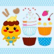 Cute Cupcake Paper Doll - Stock Vector