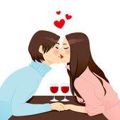 Romantic Dinner Kiss — Stock Vector
