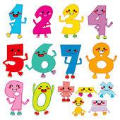 Funny Cartoon Numbers — Stock Vector