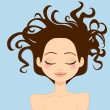 Woman Wild Hair — Stock Vector