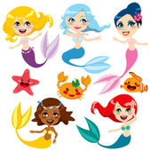 Cute Colorful Mermaids — Stock Vector