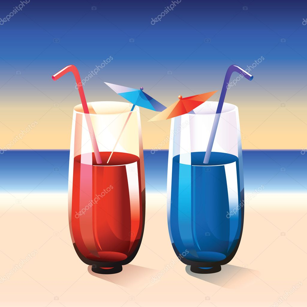 Two cocktails on summer beach   Stock Vector #11128737