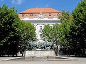 Kaliningrad, rusia una lucha a bisontes ante un edificio de la universidad técnica de escultura — Foto de Stock