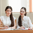 Two students at the lesson — Stock Photo