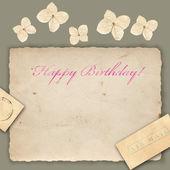 花の持つ誕生日グリーティング カード — ストック写真