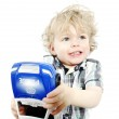 Cute little boy playing with police car — Stock Photo