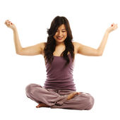 Asian woman in lotus position — Stock Photo