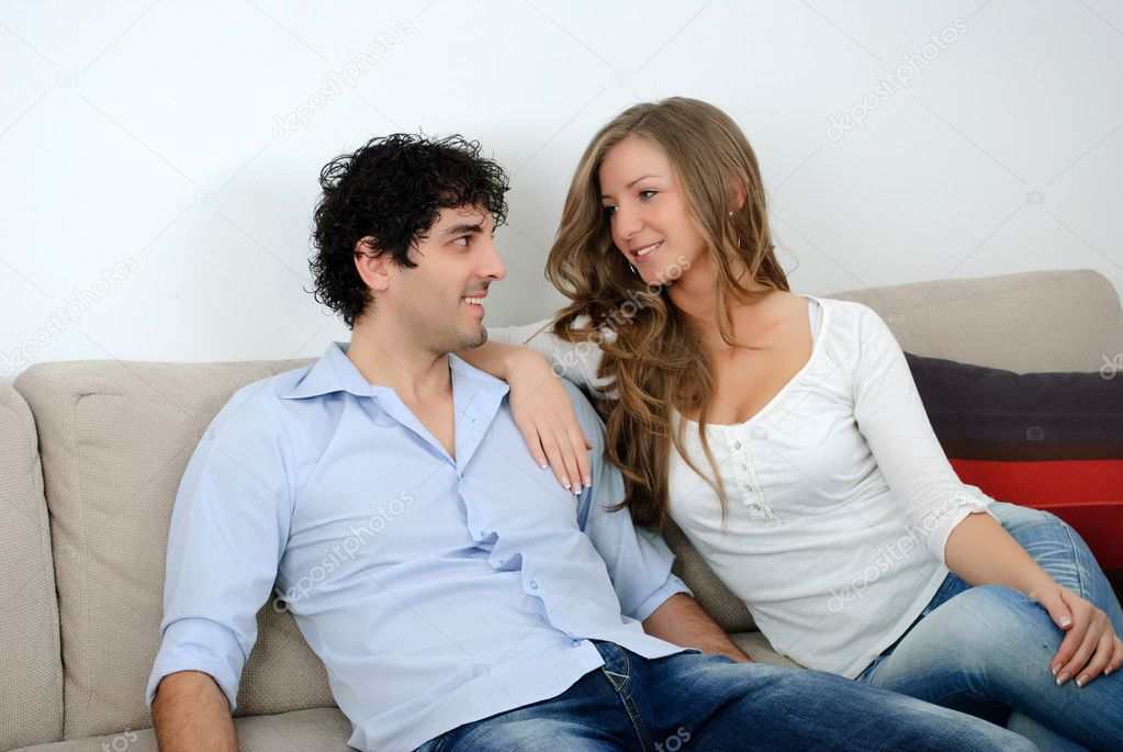 Nice young couple in love looking  Stock Photo #10982430