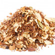 Red rooibos with ginger, toasted coconut, black pepper, cinnamon - Stock Photo