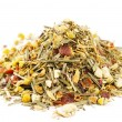 Chamomile mixes with lemongrass and hibiscus herbal tea, over wh - Stock Photo