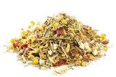 Chamomile mixes with lemongrass and hibiscus herbal tea, over wh — Stock Photo