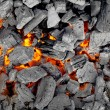 Glowing charcoal for bbq, background — Stock Photo