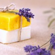 Homemade soap bars with lavender flowers — Stock Photo