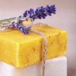 Lavender soap bars with flowers, homemade — Stock Photo