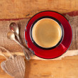 Stock Photo: Espresso coffee, red enamel mug, two old silver spoons, two wood