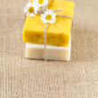 Homemade soap bars with camomile flowers, large copy space — Stock Photo