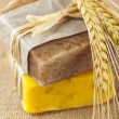 Homemade soap bars with wheat spikelets, — Stock Photo