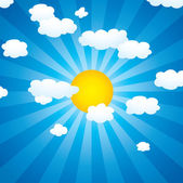 Vector clouds and sun in the sky — Stock Vector