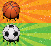Vector grunge basketball and soccer backgrounds — Stock Vector