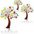 Vector apple trees in a park — Stock Vector