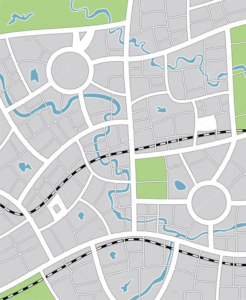矢量插画的抽象城市地图