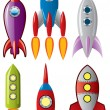 Vector set of ace retro rocket ships — Stock Vector