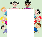 Vector young children holding blank paper — Stock Vector