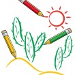 Vector pencils drawing cactus and sun — Stock Vector