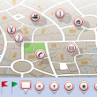 Vector city map with GPS icons — Stock Vector