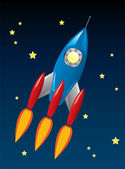 Vector retro rocket ship in space — Stock Vector