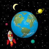 Vector retro rocket ship in space — Stock Vector