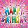 Happy birthday greeting, vector — Imagen vectorial