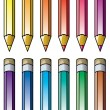 Stock Vector: Vector colourful pencils clipart
