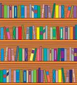 Vector wooden bookshelf with books — Stock Vector