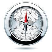Vector shiny silver compass — Stock Vector