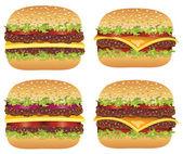 Vector set of hamburgers and cheeseburgers — Stock Vector