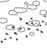 Vector flock of flying birds and clouds in the sky — Stock Vector