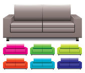 Vector set of colorful sofas — Stock Vector