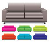 Wektor zestaw kolorowe sofy — Wektor stockowy