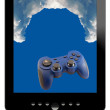 Stock Photo: Tablet, clouds and gamepad