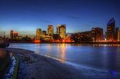 Londyn miasto ogólne skyline w nocy — Zdjęcie stockowe