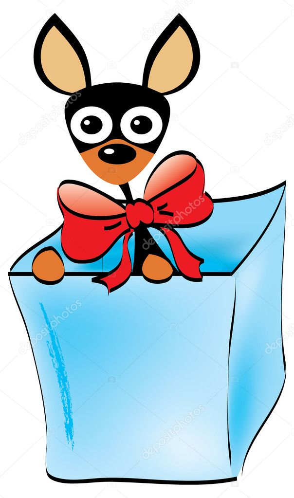 Doberman puppy with red bow in a box vector illustration — Stock Vector #11460031