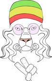Lion hippy — Stock Vector