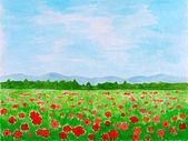 Poppy Flowers Meadow or Summer Landscape — Stock Photo