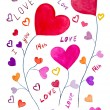 Love Concept Design Watercolor Hand Drawn and Painted — Stock Photo