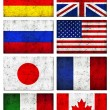 Grunge Dirty and Weathered Great 8 (G8) Countries Flag — Stock Photo