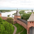 Old towers of Novgorod Kremlin, Veliky Novgorod, Russia - Stock Photo
