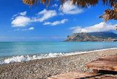 White pebble on the beach of Crimea — Stock Photo